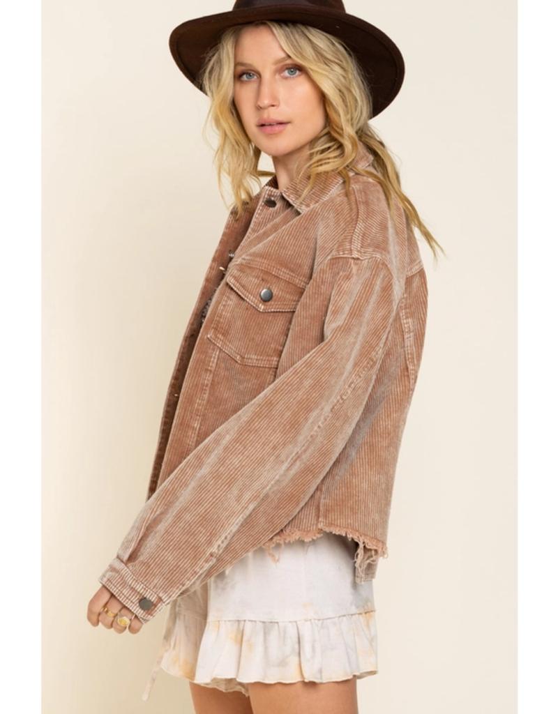 POL Clothing Teddy Bear Wide Whale Cord Jacket