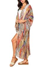 GiGiO Animal Pattern Silky Open Front Kimono