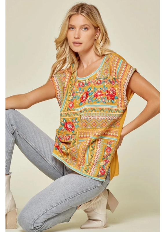 Savanna Jane Full Front Embroidered Top
