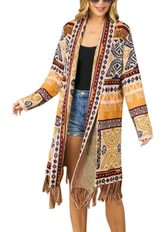 Adora Tribal Patterned Cardigan with Fringe Hem