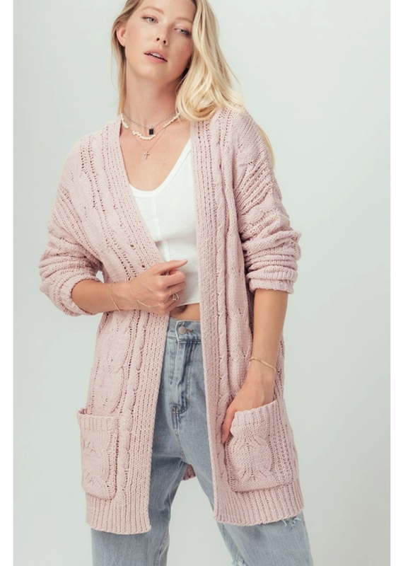 Love Tree Chunky Chenille Cable Cardigan