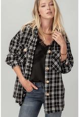 Urban Daizy  Black & White Tweed Oversize Jacket w/Gold Buttons