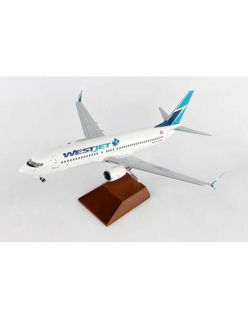 Skymarks WestJet 737-800 1/100 With Wood Stand