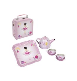 Ballerina bouquet  tin tea set mini  case