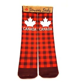 Canada Socks PLAID w White