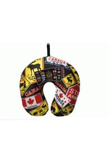 Travel Pillow Black - Canada Licence Plate & Road Sign