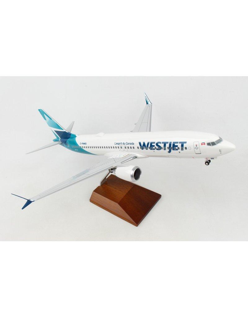 Skymarks WestJet 737-Max8 1/100 W/Wood Stand&Gear New