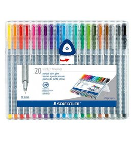 Staedtler Fiber Tip 1.0mm Pen Set Of 20 Triangular Barrels  Dry Safe
