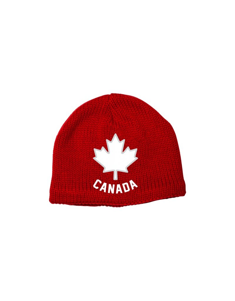 Maple leaf Toque Knitted Hat Red
