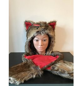 Foxy Hood Hat Kids Red
