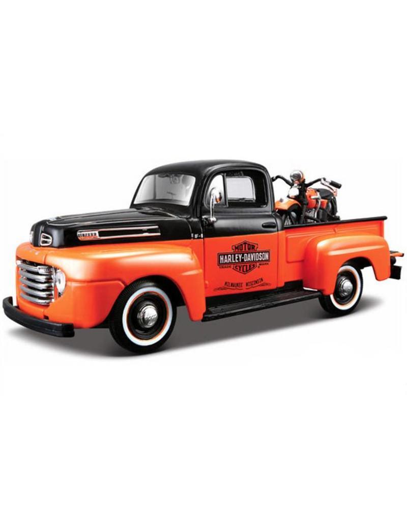 Ford 1948 Pick up with Harley 1:24 Black/ Orange