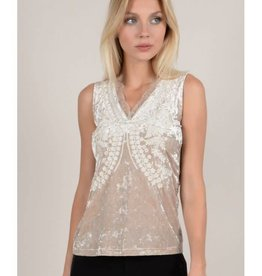 Molly Bracken Molly Bracken Velvet Back Lace Top