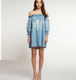 DEX Dex Off Shoulder Embroidered Dress