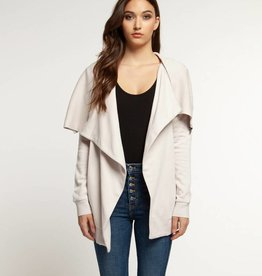 DEX Dex Draped Cardigan W/ Zip Detail