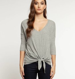 DEX Dex 3/4 Sleeve V Neck Side Tie Top