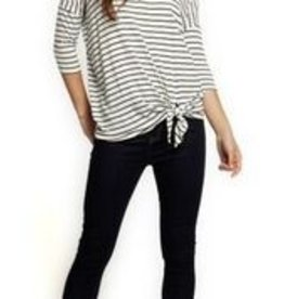 DEX Dex 3/4 Sleeve  V-Neck Side Tie Top