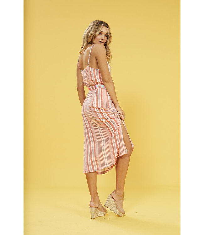 Minkpink Ocean Side Stripe Midi Dress