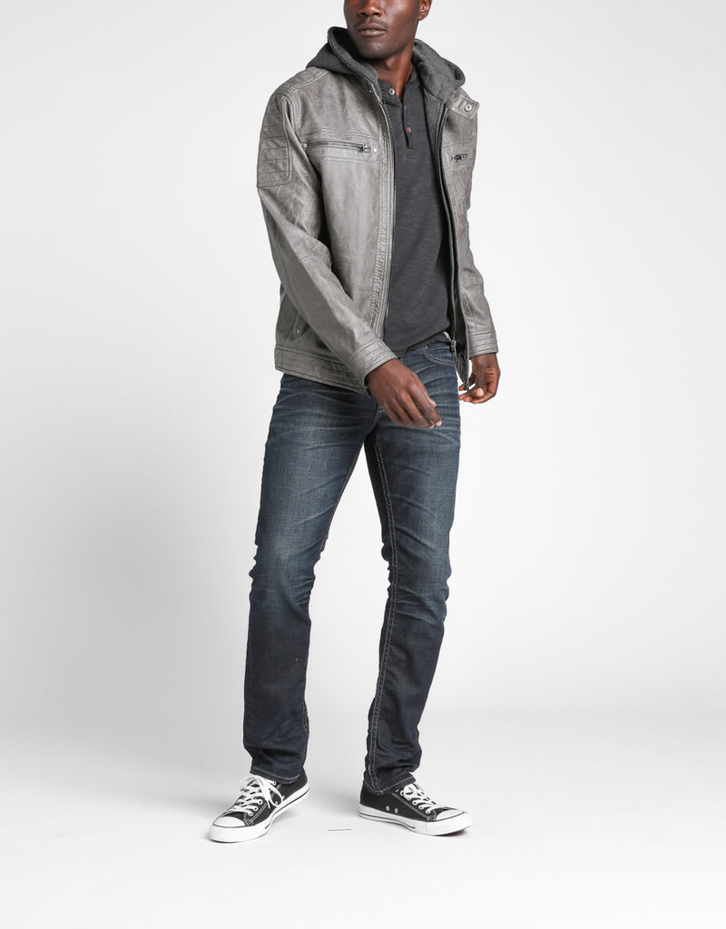 Silver Silver Mens Fredric Faux-Leather Jacket
