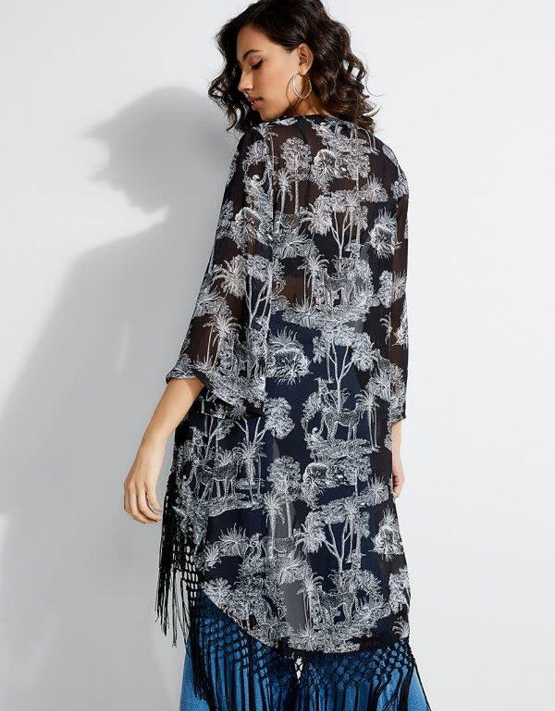 Guess Guess Womens Junlynn Tassel Kimono