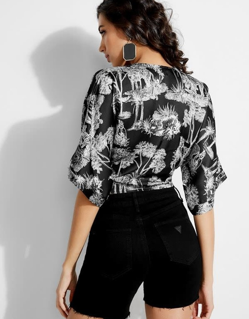 Guess Guess Womens Shay Printed Tie-Front Top
