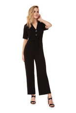 DEX Dex S/Slv Button Down Jumpsuit W Front Tie