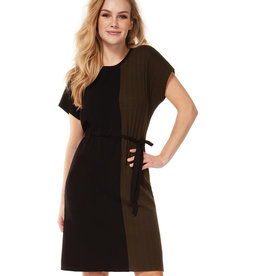 DEX Dex Crew Neck Color Block Dress W/Tie