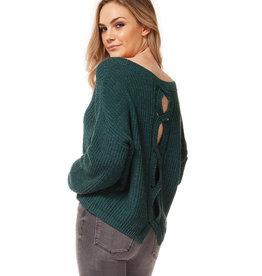 DEX Dex Scoop Neck Sweater W/Split Back