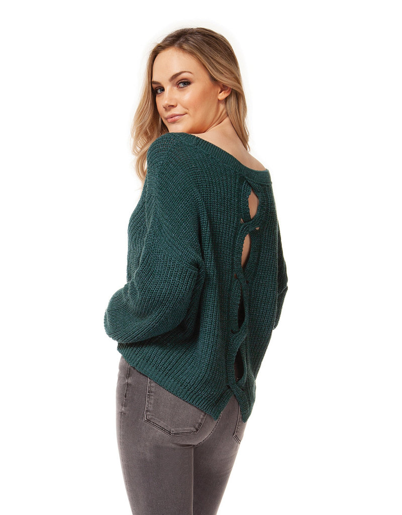 DEX Dex Scoop Neck Sweater W/Split Back