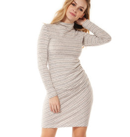 DEX Dex Turtle Neck Dress W/Shirring At Waist