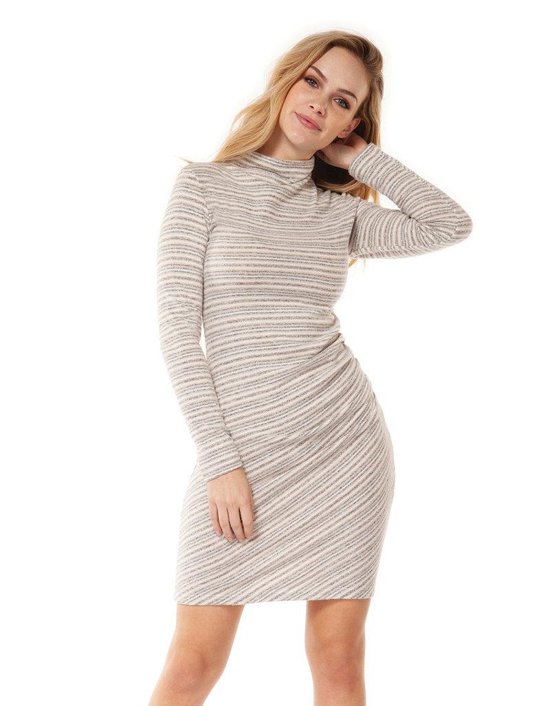 DEX Dex Turtle Neck Dress W/Shirring At Waist