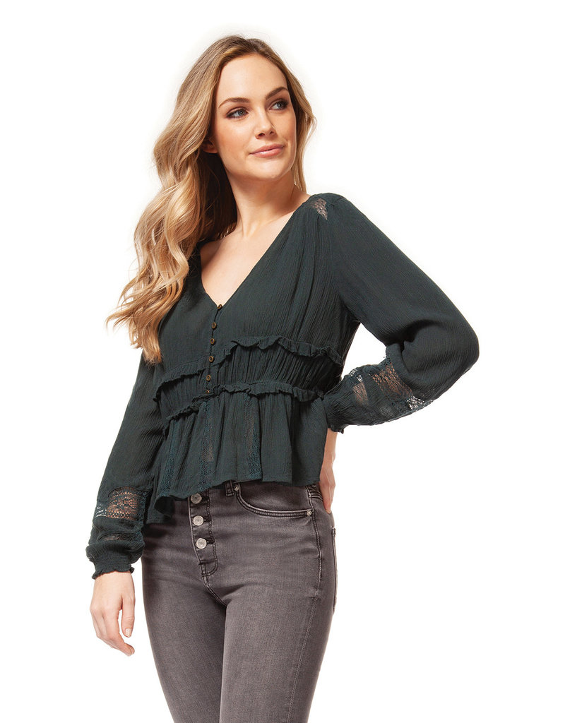 DEX Dex v-Neck Top W/Lace & Button Detail