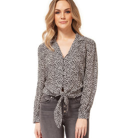 DEX Dex Basic L/Slv V-Neck Top W/Front Tie