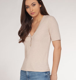 DEX Dex Ribbed Button Down V-Neck