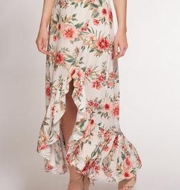 DEX Dex Floral Ruffle Midi Skirt
