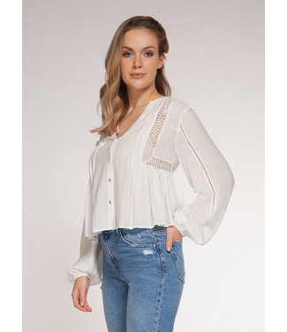 DEX Dex L/S Blouse With Crochet Insert