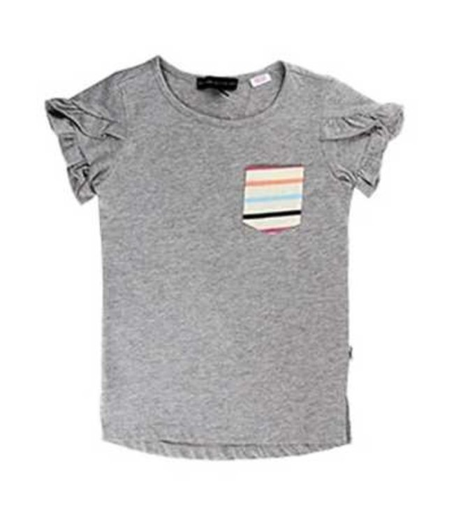 Silver Girls Striped Pocket Tee