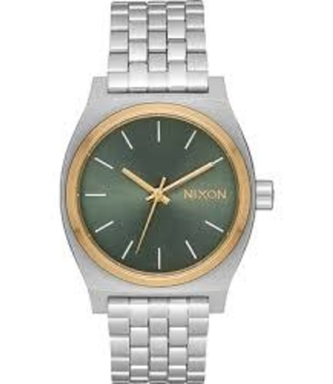 Nixon Medium Time Teller Silver/Gold/Agave