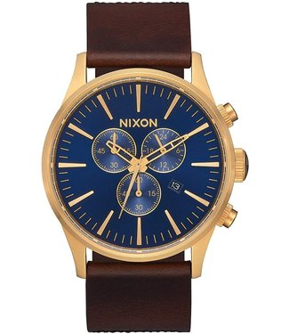 Nixon Nixon Sentry Chrono Leather Navy/Brown/Black Gator