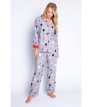 P.J. Salvage PJ Salvage Flannel Wine PJ Set