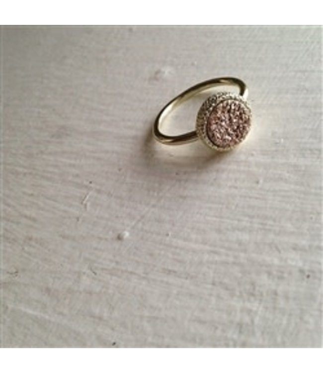 Pika & Bear Tenerife Gold Plated Druzy Ring in Rose Gold