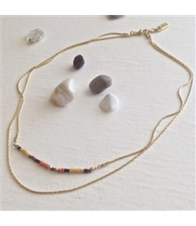 Pika & Bear Thomson Heishi Bead Necklace Autumn Palette
