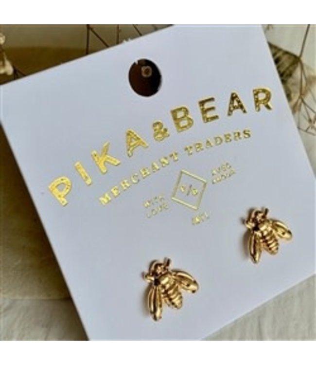 Pika & Bear Wildflowers Tiny Gold Honeybee Stud Earrings