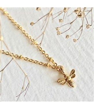 Pika & Bear Pika & Bear Wildflowers Tiny Bee Charm Gold Necklace
