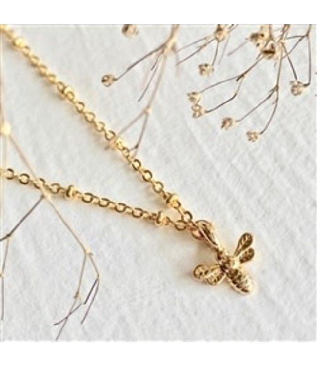 Pika & Bear Wildflowers Tiny Bee Charm Gold Necklace