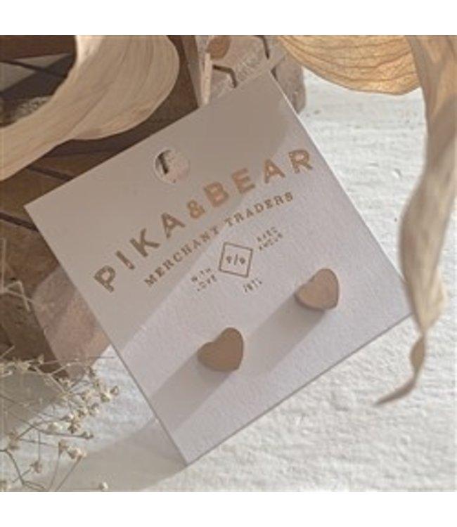 Pika & Bear Heart Stud Earrings in Rose Gold