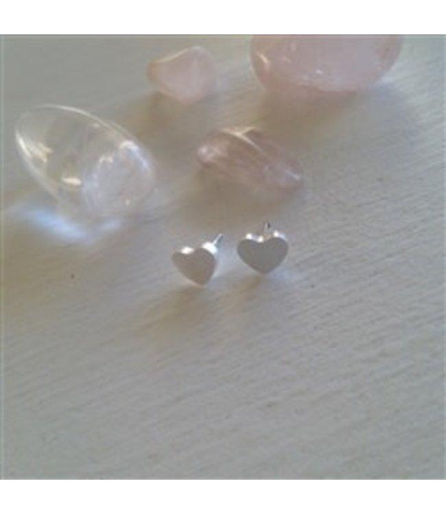 Pika & Bear Heart Stud Earrings in Silver