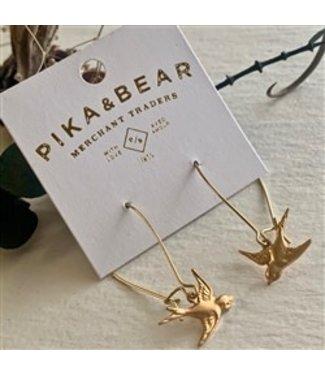 Pika & Bear Pika & Bear Free Bird Brass Wire Earrings