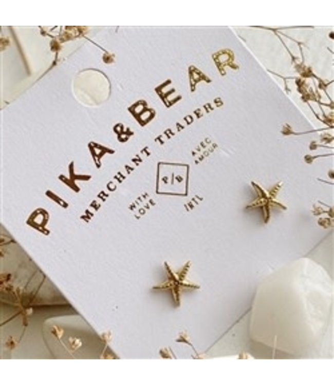 Pika & Bear Sechett Starfish Stud Brass Earrings
