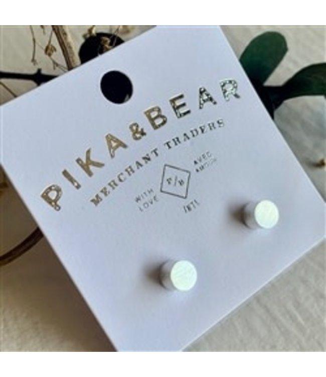 Pika & Bear Cylin Minimalistic Stud Silver Earrings