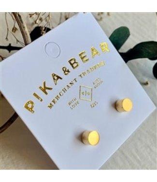 Pika & Bear Pika & Bear Cylin Minimalistic Stud Gold Earrings